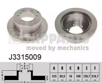 Тормозной диск на MITSUBISHI L400 'NIPPARTS J3315009'.