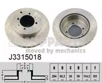 Тормозной диск на Митсубиси Фто 'NIPPARTS J3315018'.