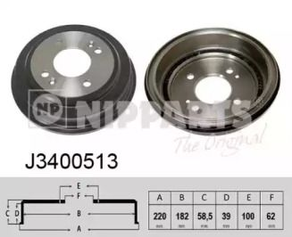 Тормозной барабан 'NIPPARTS J3400513'.