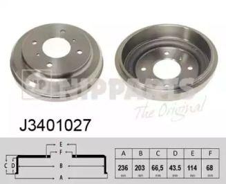 Тормозной барабан 'NIPPARTS J3401027'.