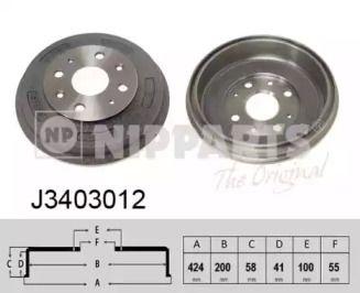 Тормозной барабан 'NIPPARTS J3403012'.