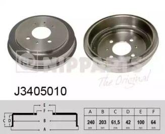 Тормозной барабан 'NIPPARTS J3405010'.