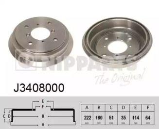Тормозной барабан 'NIPPARTS J3408000'.