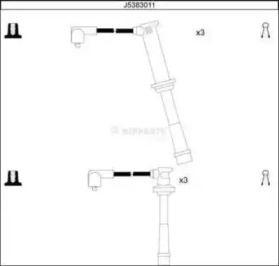 Високовольтні дроти запалювання на Мазда Кседос 9 'NIPPARTS J5383011'.