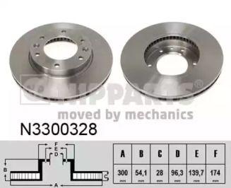Вентилируемый тормозной диск на Киа Карнивал 'NIPPARTS N3300328'.