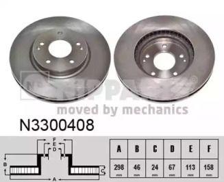 Вентилируемый тормозной диск на SSANGYONG KORANDO 'NIPPARTS N3300408'.