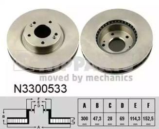 Вентилируемый тормозной диск на Хендай Ай40 'NIPPARTS N3300533'.