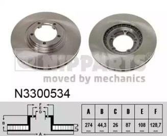 Вентилируемый тормозной диск на Хендай Н1 'NIPPARTS N3300534'.