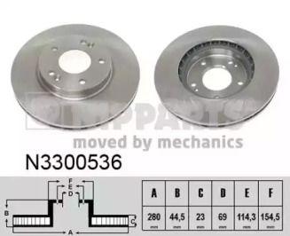 Вентилируемый тормозной диск на Хендай Элантра 'NIPPARTS N3300536'.