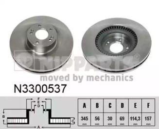 Вентилируемый тормозной диск на Хендай Генезис 'NIPPARTS N3300537'.
