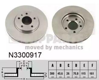 Вентилируемый тормозной диск на Шевроле Вольт 'NIPPARTS N3300917'.