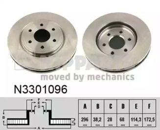 Вентилируемый тормозной диск на NISSAN NAVARA 'NIPPARTS N3301096'.
