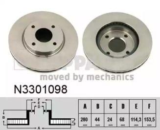 Вентилируемый тормозной диск на NISSAN CUBE 'NIPPARTS N3301098'.