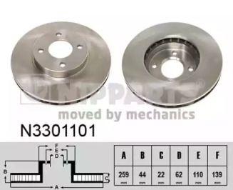 Вентилируемый тормозной диск на Ниссан Ноут 'NIPPARTS N3301101'.
