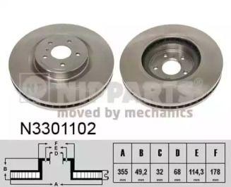 Вентилируемый тормозной диск на Ниссан 370З 'NIPPARTS N3301102'.