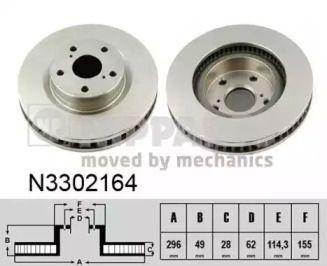 Вентилируемый тормозной диск на TOYOTA MATRIX 'NIPPARTS N3302164'.