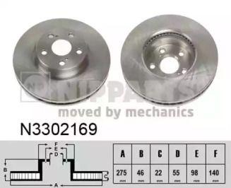 Вентилируемый тормозной диск на Тайота Урбан Крузер 'NIPPARTS N3302169'.