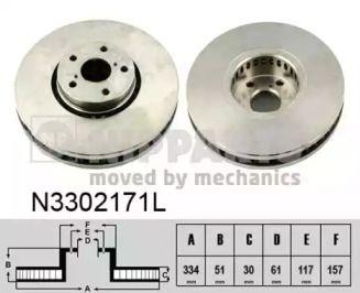 Вентилируемый тормозной диск на Лексус Ис 'NIPPARTS N3302171L'.
