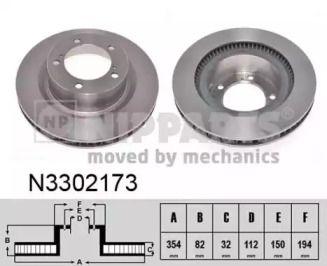 Вентилируемый тормозной диск на Тайота Тундра 'NIPPARTS N3302173'.