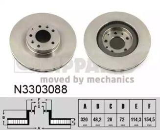 Вентильований гальмівний диск на Мазда СХ7 NIPPARTS N3303088.