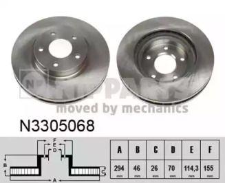 Вентилируемый тормозной диск на Митсубиси АСХ 'NIPPARTS N3305068'.