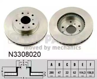 Вентилируемый тормозной диск на Фиат Седичи 'NIPPARTS N3308020'.