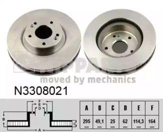 Вентилируемый тормозной диск на SUZUKI GRAND VITARA 'NIPPARTS N3308021'.