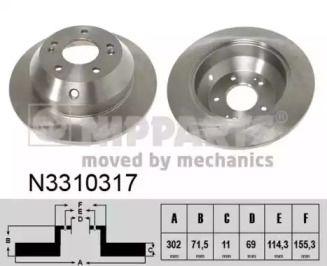 Тормозной диск на HYUNDAI GRAND SANTA FE 'NIPPARTS N3310317'.