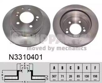 Вентилируемый тормозной диск на SSANGYONG RODIUS 'NIPPARTS N3310401'.