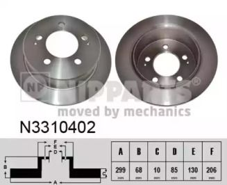 Тормозной диск на SSANGYONG STAVIC 'NIPPARTS N3310402'.