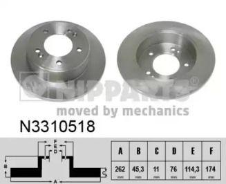 Тормозной диск на Киа Церато Куп 'NIPPARTS N3310518'.