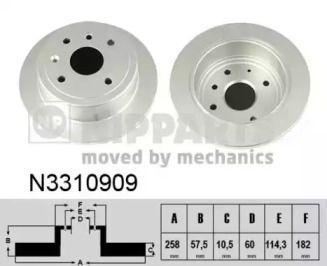 Тормозной диск на DAEWOO NUBIRA 'NIPPARTS N3310909'.