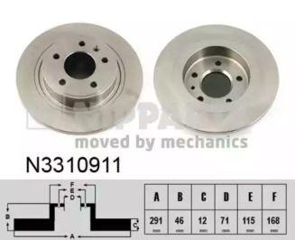 Тормозной диск на CHEVROLET VOLT 'NIPPARTS N3310911'.