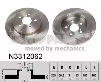 Тормозной диск на Тайота Приус 'NIPPARTS N3312062'.