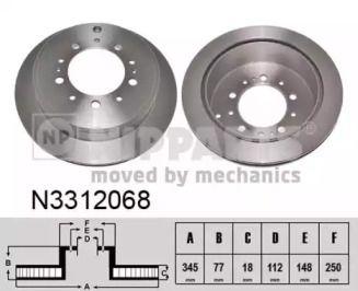 Вентилируемый тормозной диск на TOYOTA TUNDRA 'NIPPARTS N3312068'.