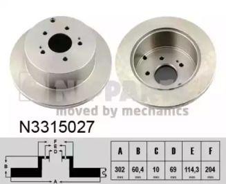 Тормозной диск на MITSUBISHI GRANDIS 'NIPPARTS N3315027'.