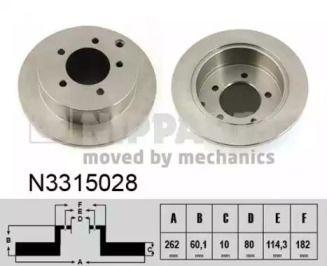 Тормозной диск на Митсубиси Лансер 'NIPPARTS N3315028'.