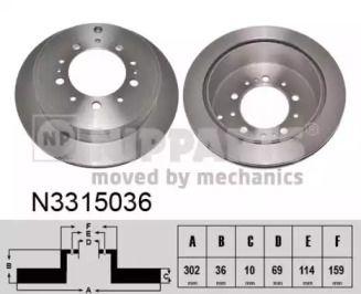 Тормозной диск на MITSUBISHI ASX 'NIPPARTS N3315036'.