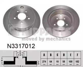 Тормозной диск на Субару Импреза 'NIPPARTS N3317012'.