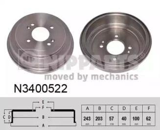 Тормозной барабан на HYUNDAI ACCENT 'NIPPARTS N3400522'.