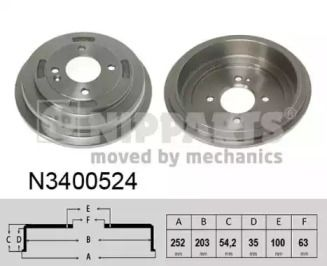 Тормозной барабан 'NIPPARTS N3400524'.