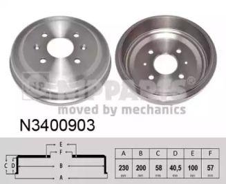 Тормозной барабан на CHEVROLET SPARK 'NIPPARTS N3400903'.