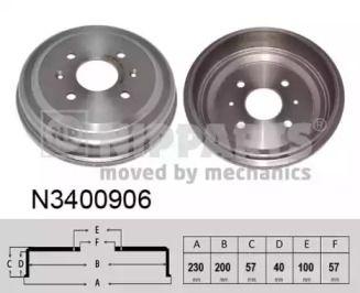 Тормозной барабан на CHEVROLET SPARK NIPPARTS N3400906.