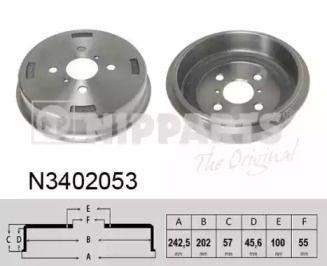 Тормозной барабан на DAIHATSU CHARADE 'NIPPARTS N3402053'.