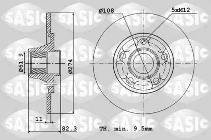 Задний тормозной диск 'SASIC 4004300J'.