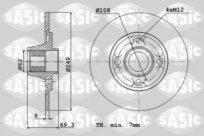Задний тормозной диск 'SASIC 6100004'.