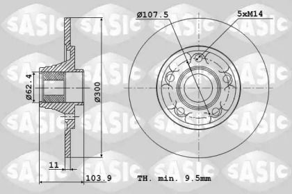 Задний тормозной диск 'SASIC 6104045'.