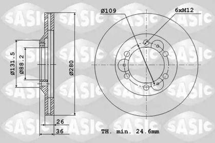 Вентилируемый передний тормозной диск 'SASIC 6106092'.
