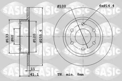 Передний тормозной диск 'SASIC 6106093'.
