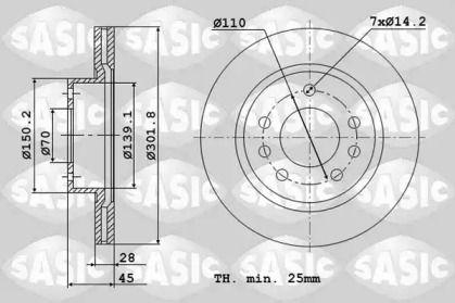 Вентилируемый передний тормозной диск 'SASIC 6106094'.